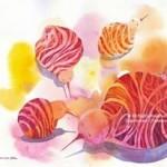 Name : Kiwi family/ Technique :Watercolor /size :58x48cm /Price : 235 usd.