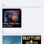 ภาพถ่ายหน้าจอแสดงอัลบั้มเพลงทั้งหมดบนวินโดวส์โฟน 8