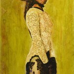 Art Name : Lady in Lace 1980/Encausto on Wood/Size:43x73 (cm)/Price:Under request