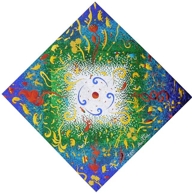 Universe No.3_Mirror-mosaic-on-wood-panal_150x150cm_30kg_2016_