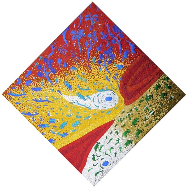 Universe No.4_Mirror-mosaic-on-wood-panal_150x150cm_30kg_2016_